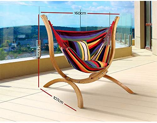 Gardeon Hammock Chair 120kg Weight Supported Russia Imported Larch Wood Hammock Stand Cotton And Polyester Hanging Chair For Home Garden Yard Amazon Com Au Lawn Garden