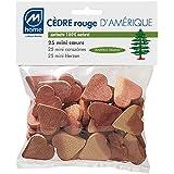 Mondex CED61625-00 Lot de 25 Mini Coeurs Antimites Cèdre Rouge 19 x 14 x 3 cm