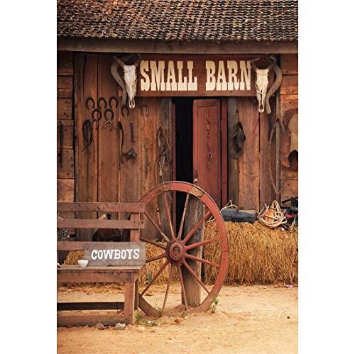Yeele 6x8ft Vinyl Photography Background Rural Barn Western Cowboy Haystack Rustic Farm Tools Bike Old Wheel Hub Horseshoe West Style Photo Backdrops Pictures Studio Props Wallpaper -