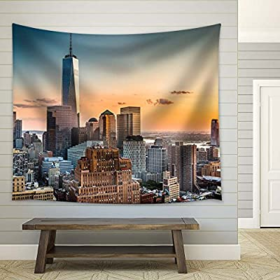 New York City at Sunset - Fabric Tapestry, Home Decor - 51x60 inches