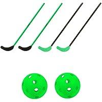 TOOLZ Hockey Set kinderen met 4 hockeysticks (70cm lang) + 1 hockeybal geperforeerd + 1 hockeybal PVC - geschikt voor…