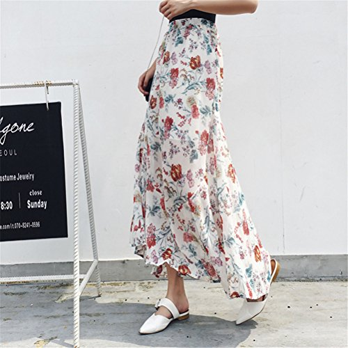 Donna Floreale Holiday Beach Bohemian Skirt Chiffon Oudan Vintage Stampato Plissettato Long Gonna Bianca Mermaid ZWnxxtpH
