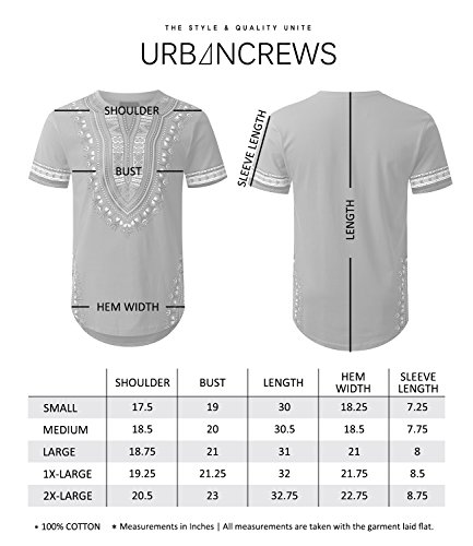 URBANCREWS Mens Hipster Hip Hop Dashiki Graphic Longline T-Shirt RED Medium by URBANCREWS (Image #4)