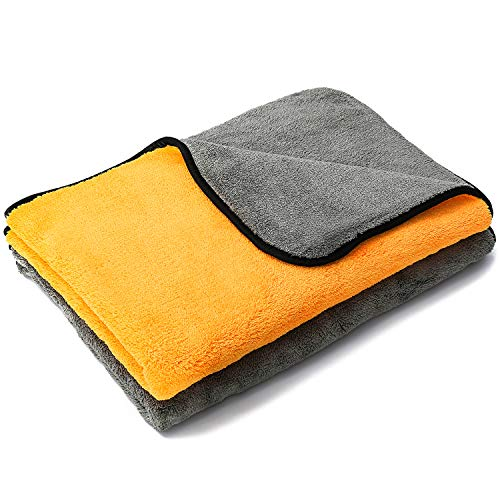 - MATCC Microfiber Cleaning Cloths 2 Pack Large Size 23'' x 35'' Microfiber Towels for Cars Lint Free Dual Layer Ultra-Thick 900GSM Super Absorbent Silk Edging Microfiber Dryer Towel (Pack of 2)
