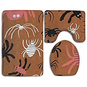 Heart Wolf Bathroom Rugs Mat Contour Mat U-shaped Toilet Floor Rug Soft Non-Slip Back,Halloween Cute Spider 3 Piece Bathroom Mat Set