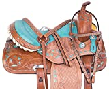 AceRugs Turquoise Teal Horse Saddle Set Headstall REINS Breast Collar Included Western Pleasure Trail Tooled Leather