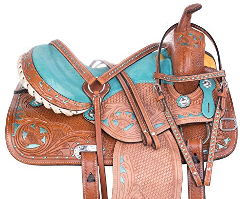 (AceRugs Turquoise Teal Horse Saddle Set Headstall REINS Breast Collar Included Western Pleasure Trail Tooled Leather (Teal, 16))