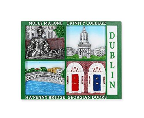 Dublin Postcard Style Magnet with Molly Malone, Trinity College, Ha'penny Bridge & Georgian Doors