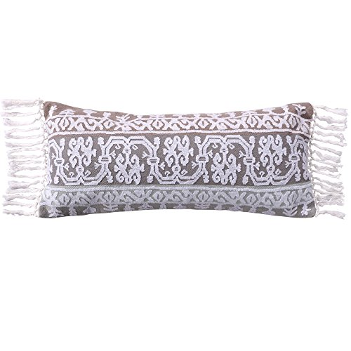 Levtex Josie Spa Crewel Embroidered Tassel Trim Pillow, Paisley, Cotton, Grey, Spa, Taupe, White