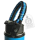 Gearproz Handle for Hydro Flask - America's #1 Paracord Bottle Carrier with Safety Ring Holder - Fits Wide Mouth Water Bottles 12 oz to 64 oz - Top Ratings, 20+ Colors (Peacock w/Compass)
