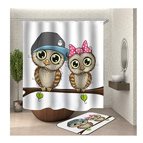 Aokarry Polyester 2 Pack Shower Curtain & 40x60cm Rug Set Colorful Couple Owl 72x80 ''