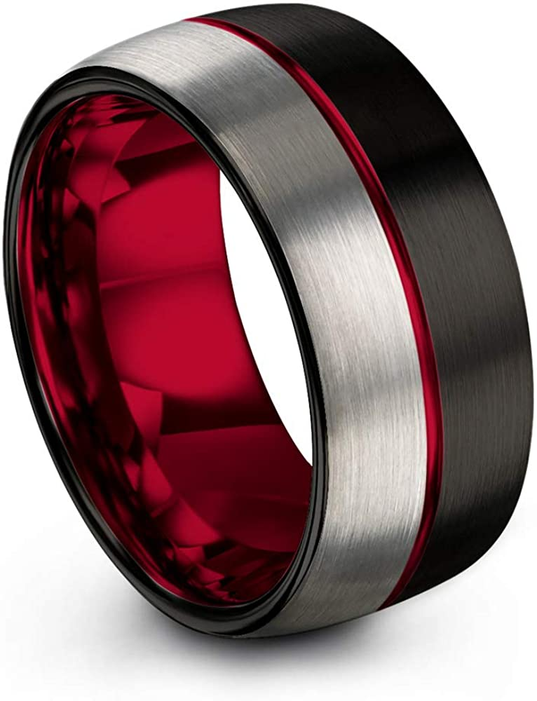 Chroma Color Collection Tungsten Carbide Wedding Band Ring 10mm for Men Women Green Red Fuchsia Copper Teal Blue Purple Black Center Line Dome Black Grey Half Brushed Polished