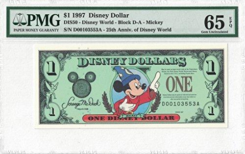 Disney Dollar 1997 $1 Sorcerer Mickey D00103553A PMG 65 EPQ Gem (Pmg 65 Gem)