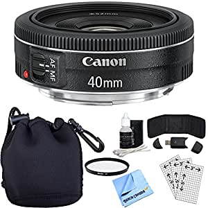 Canon EF 40mm f/2.8 STM Pancake Lens w/ Accessory Bundle includes Lens, Lens Pouch, 52mm UV Filter, Memory Card Wallet, Card Reader, Screen Protectors Cleaning Kit and Beach Camera Microfiber Cloth