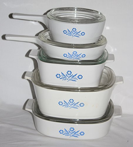 10 Piece Set - Vintage Corning Ware Cornflower Blue Skillet Casserole Baking Dishes