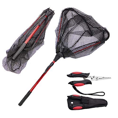 Fishing Net Professional Grade Foldable Collapsible Fish Safe Landing Net with Heavy Duty Multipurpose Fishing Pliers both Designed with Premium Stainless for Fresh and Salt Water Use