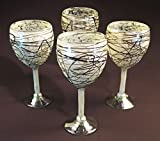 Wine Glasses Hand Blown, Iridescent White with Chocolate Swirls (Set of 4) 12 Oz
