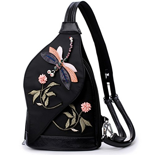 Skyseen Embroidered Flowers Sling Backpack 3D Dragonfly Satchel Chest Shoulder - Dragon Sling