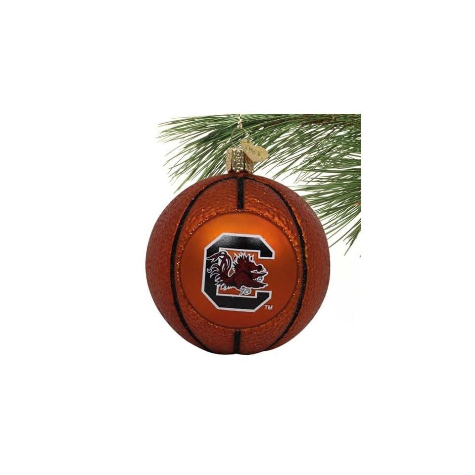 NCAA South Carolina Gamecocks Glass Basketball Ornament