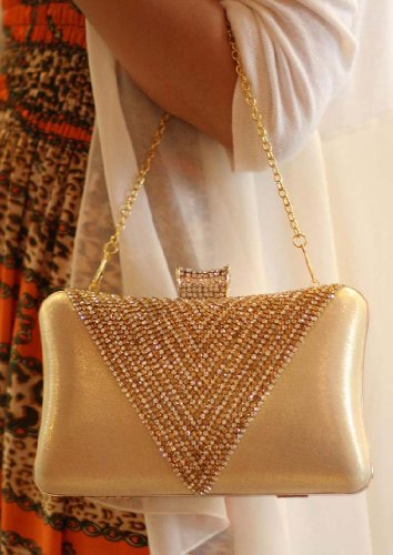 KAXIDY Diamante Embrague Duro Caso De Hombro Del Bolso De Tarde De La Boda Diamantés De Baile Acontecimientos Elegantes (Plata) Dorado