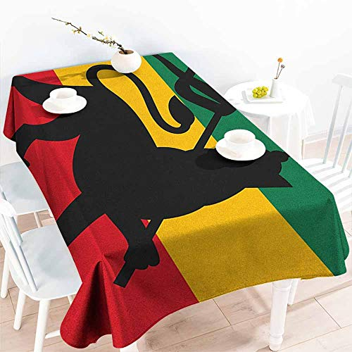 Water Resistant Table Cloth,Rasta Rastafarian Flag with Judah Lion Reggae Music Inspired Design Image,Fashions Rectangular,W60X102L Black Red Green and Yellow (Restaurant With Red White And Green Flag Logo)