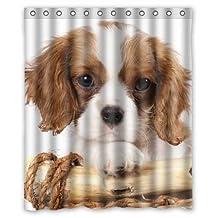"Dogs Cavalier king Charles Spaniel Puppy Animals Custom Fashion Waterproof Fabric Bath Shower Curtain 60"" x 72"""