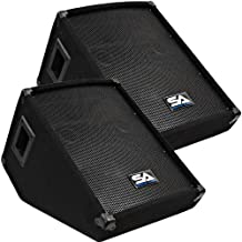 Seismic Audio - Pair of 10-Inch Wedge Style Floor Monitors-Studio, Stage, or Floor Use-PA/DJ Monitors