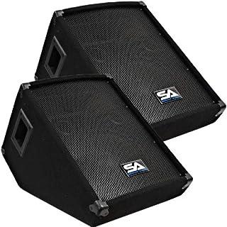"""Seismic Audio - Pair of 10"""" Wedge Style FLOOR MONITORS - Studio, Stage, or Floor use - PA/DJ Speakers - Bar, Band, Karaoke, Church, Drummer use"""