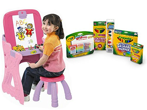 Crayon Sharpener Costume (Crayola Play 'N Fold 2-in-1 Art Studio and Crayola Starter Pack, includes Crayons, Colored Pencils, Markers, and Water Color, Bundle)