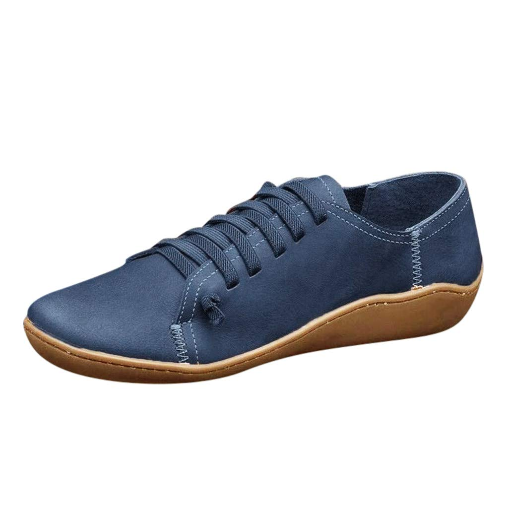 Kauneus Retro Casual Comfortable Loafers Flat Soft Round Toe Simple Shoes Creative Strappy New Walking Shoes Versatile Blue by Kauneus Fashion Shoes