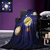 smallbeefly Space Custom printed Throw Blanket Solar System Illustration Showing Planets around Sun Harmony of Galaxy Science Room Image Velvet Plush Throw Blanket Multi