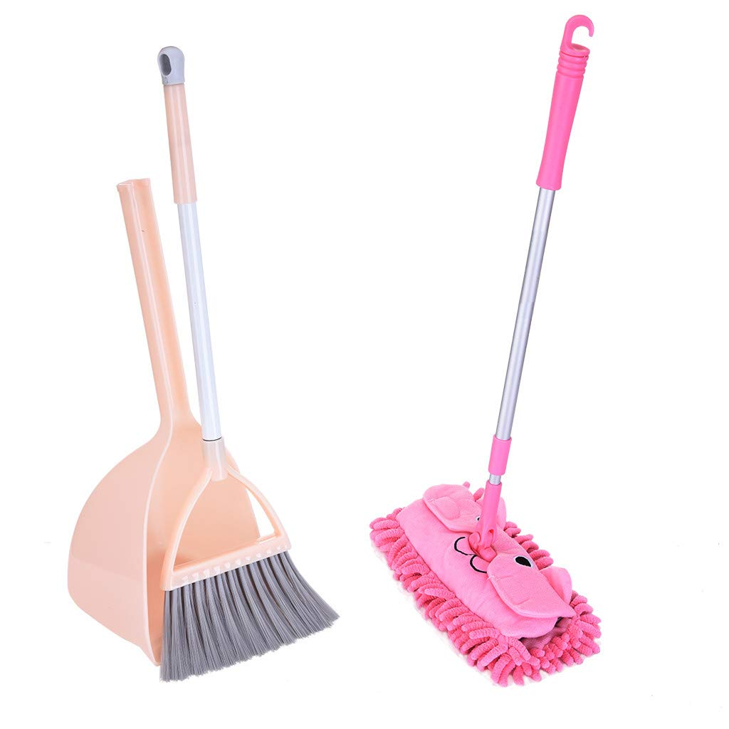 Balakie Pretend Play for Toddlers Kid's Housekeeping Cleaning Tools Set-3pcs, Small Mop Small Broom Small Dustpan (Pink)