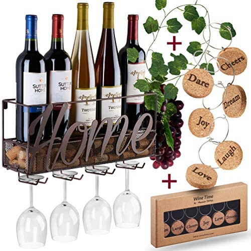 Wall Mounted Wine Rack – Bottle & Glass Holder – Cork Storage Store Red, White, Champagne – Come with 6 Cork Wine Charms – Home & Kitchen Décor – Storage Rack – Designed by Anna Stay,Home