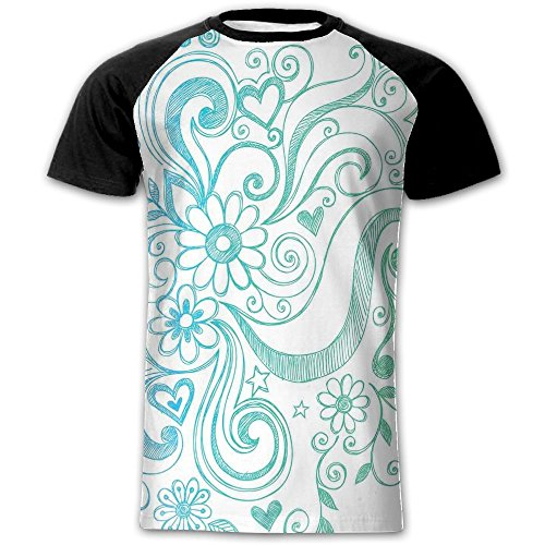 Newfood Ss Rainbow Colored Ombre Sketch Design with Florals Blossom Ivy Leaves Men's Short Sleeve Raglan T XXL - Case Baby Doc Knife