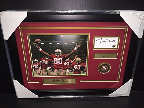 Jerry Rice Autographed 8x10 Photo - Jerry Rice Autographed Cut W/ 8x10 Photo San Francisco 49'ers Framed Authenitc - Autographed NFL Photos