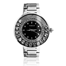 Matashi Crystals 18K White Gold Plated Women's Watch Surrounded by Swiveling Crystals Water Resistant with Adjustable Band (Black Face)