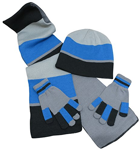 N'Ice Caps Kids Reversible Knitted Hat/Scarf/Magic Stretch Glove Accessory Set (3-6 Years, Black/Charcoal/Royal with Touchscreen)