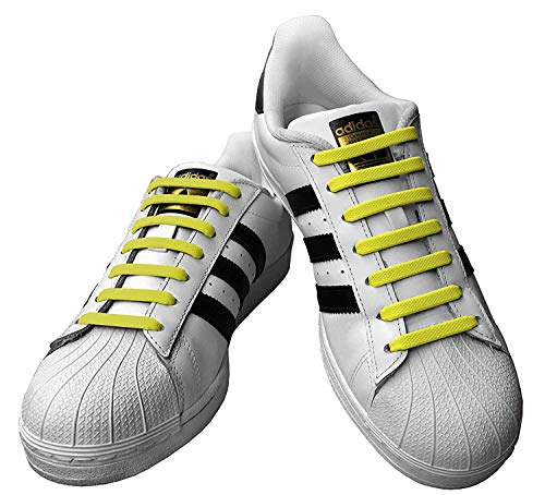 - Kicks Adults Yellow - Tieless Elastic Silicone No Tie Shoelaces