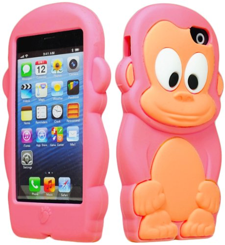 (Bastex 3d Character Silicone Case for Apple Iphone 5c - Hot Pink & Tan Monkey)