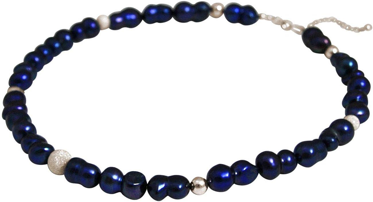 Gemshine Collar en Plata de Ley o chapada en oro de 18k. Perlas cultivadas barrocas Tahiti Midnight blue - azul medianoche. Joya hecha en Alemania