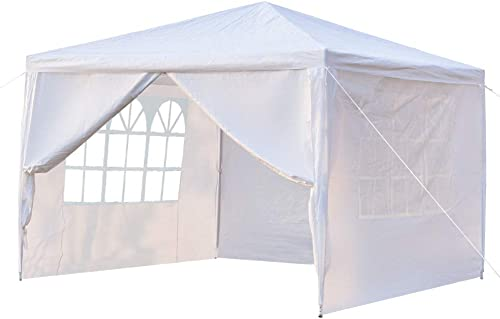 Yuehang Outdoor 10x10ft Canopy Tent, Portable Gazebo Canopy Tent for Party Wedding Commercial Waterproof, UV Protection Shelter, Removable Sidewalls, Upgraded Spiral Tube White 4 Removable Side