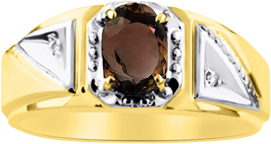 Diamond /& smoky Quartz Ring Sterling Silver or Yellow Gold Plated