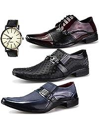 Kit 3 Pares Sapato Social Neway WS Shoes Masculino Cinza, Vinho e Preto + Relógio