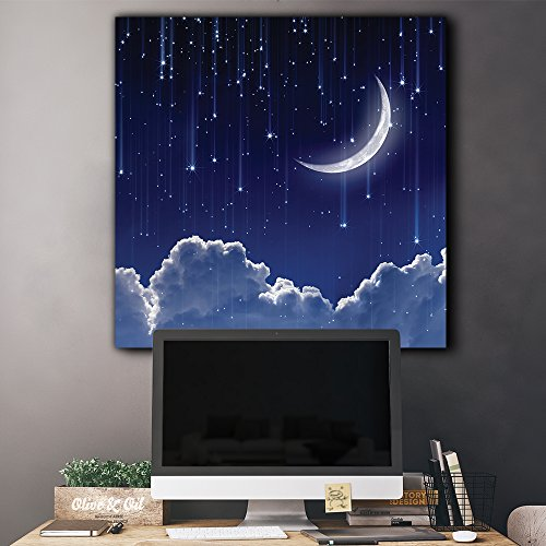 Crescent Moon with Bright Falling Stars Above The Clouds