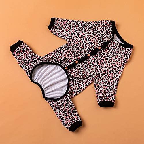 LovinPet - Ropa para perros grandes después de la cirugía / Estampados en rosa neón de guepardo de punto elástico cepillado doble / Protección UV, alivio de la ansiedad de las mascotas, pijama ligero para mascotas / Pijamas para perros de cobertura completa 8