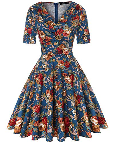 ROOSEY Retro 1950s Cocktail Dresses Vintage Retro Swing Dress with Short Sleeve ()