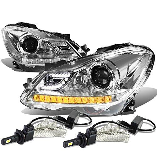 Mercedez Benz C-Class W204 3D Crystal Halo Projector Chrome Housing Headlights W/ Amber LED Signal + H1 LED Kit (Class Crystal Headlights)