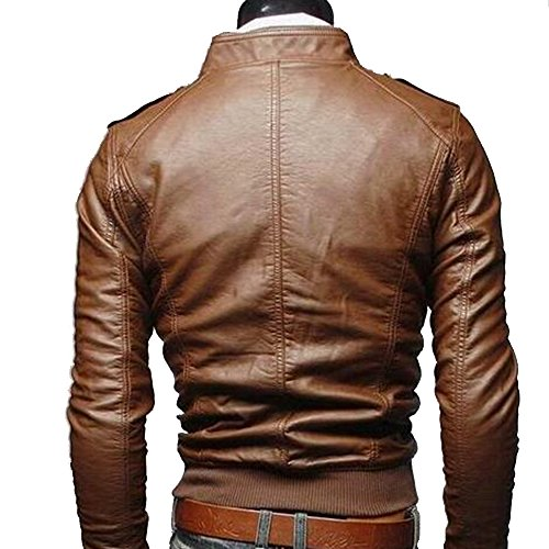 Amazon.com: Yaheeda Mens Casual Stand Collar Slim PU Leather Motorcycle Rider Faux-Leather Jacket Coat Jacket: Home & Kitchen