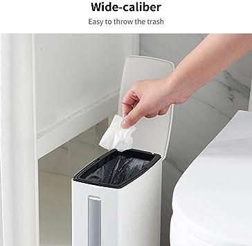 Papelera para escobilla de Inodoro pl/ástico ABS, aleaci/ón de Aluminio, Incluye Caja de Almacenamiento Augneveres