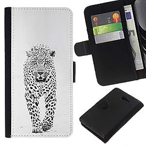 KLONGSHOP // Tirón de la caja Cartera de cuero con ranuras para tarjetas - invierno leopardo de las nieves manchas blancas negras - Sony Xperia M2 //